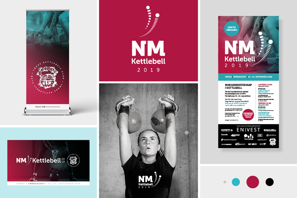 Profileringsmateriell og logo utforma for NM Kettlebell 2019.