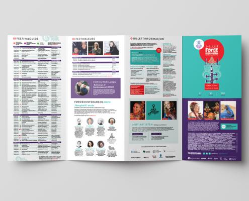 Grafisk utforming av brosjyre for Førdefestivalen 2020.